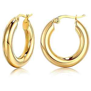 MERUNOW 14K Gold Plated Chunky Rounded Hoop Earrings, Small Thick Gold Hoops Earrings for Women