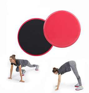 Chiwo Exercise Core Sliders for Working Out, 2 Pack Dual Sided Use on Carpet or Hardwood Floors,Abdominal Workout (Red)
