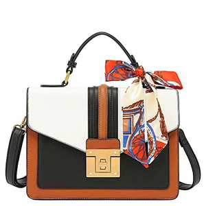 Scarleton Medium Top Handle Satchel Handbag for Women, Purses for Women, Tote bag for Women, H206504A, Brown/White
