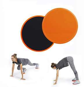 Chiwo Exercise Core Sliders for Working Out, 2 Pack Dual Sided Use on Carpet or Hardwood Floors for Abdominal&Full Body Workout (Oange)