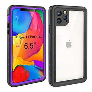 Waterproof Case iPhone 11 Pro Max (6.5 inch), Full Sealed Rugged with Clear Sound Quality Waterproof/Shockproof/Snowproof/Dustproof (Purple/Black)
