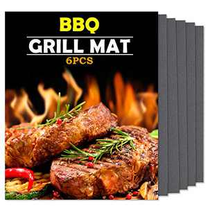 "HaSteeL BBQ Grill Mat, 6 Packs Non Stick Grill Mats Reusable Barbecue Grilling Accessories, Works on Gas Charcoal Electric Grill, Easy to Clean & Dishwasher Safe - 15"" X 13"" (Black)"
