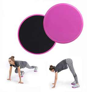 Chiwo Exercise Core Sliders for Working Out, 2 Pack Dual Sided Use on Carpet or Hardwood Floors for Abdominal&Full Body Workout(Pink)