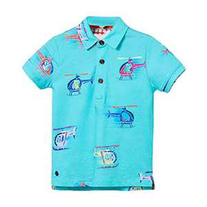 Ainuno Boys Polo Shirts 5t 6 5-6 Years Old Blue Boy Tshirt Printed Short Sleeve Summer Top Cool Cute Cotton Shirts Size 5-6T Boy Kindergarten Outfits