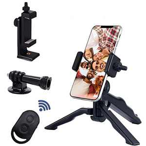 Phone Tripod Accessories, 1 Pack Phone Tripod Mount with 360° Rotation,1 Pack Wireless Camera Remote,1 Pack Desktop Phone Tripod Camera Tripod Travel Tripod, Tripod for iPhone/Samsung