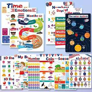 """Educational Preschool Posters for Kids 12Pcs, Toddlers Learning Charts for Homeschool Kindergarten Classroom Decorations, Alphabet Numbers Shapes Laminated Posters with Glue point dots (16.7""""X 11.2"""")"""