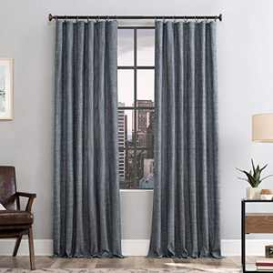 "Scott Living Delton Stonewashed Cotton Semi-Sheer Ring Top Curtain Panel, 52"" x 84"", Denim"