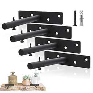 ChasBete Floating Shelf Bracket, 6in Heavy Duty Shelf Brackets & Supports, 4PCS Wall Mount Hidden Shelf Brackets
