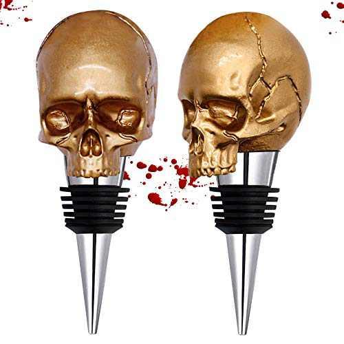 Gold Skull Wine Stopper Halloween,Personalized Wine Skull Shape Stainless Steel Wine Stopper Halloween