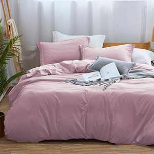 MUKKA Duvet Cover Queen,100% Washed Microfiber 3pcs Bedding Duvet Cover Set,Solid Color - Soft and Breathable with Zipper Closure & Corner Ties (Lilac,Queen)