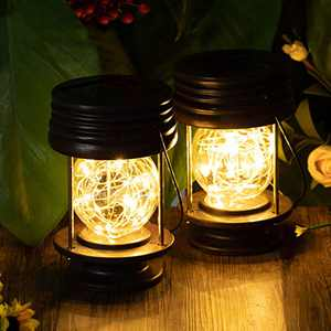 Solar Lanterns Outdoor Hanging Waterproof Decorative Landscape Solar Table Lamp Lights Yard Garden Patio Warm White with Fairy LED Lights for Indoor Tabletop Desk Pack of 2