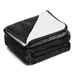EIUE Polyester Sherpa Fleece Bed Blanket,Soft Thick Nap Blanket Quilt for Sofa, Bed, Office and Outdoor Travel,Christmas Decorations Fuzzy Throw Blanket for Adult and Kids(Black,60x80)
