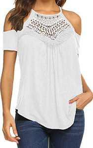 Cold Shoulder Tops Short Sleeve T Shirts V Neck Blouse Casual Criss Cross Tunic AA-White L