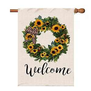 pinata Welcome Sunflower Wreath Large House Flag 28x40 Inches, Double Sided, Burlap Burlap Outdoor Decor for Summer Fall Farmhouse Yard Banner