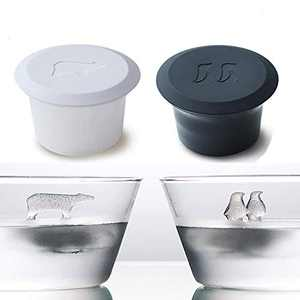 Silicone Ice Cube Trays with Cover Polar Bear and Penguin Shape Reusable Ice Cube Molds Animals Design Ice Machine Novelty Mold for Whiskey Cocktails Juice Beverages