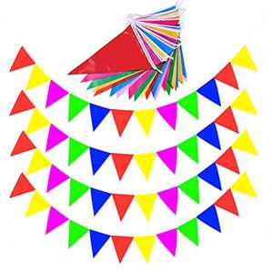 Coolflash 328ft Fabric Bunting Flags Colorful Pennant Flags Banner Rainbow Pennant Banner Extra Large Fabric Banner for American Presidential Election Birthday Wedding Grand Opening, Party Celebrations(10Pack)