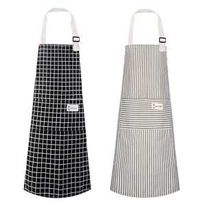 Polma Aprons, 2 Pack Cotton Linen Adjustable Bib Aprons with 2 Pockets Cooking Kitchen Aprons for Men Women