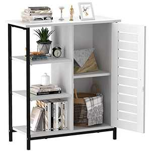 YITAHOME Side Storage Cabinet, Cupboard, Sideboard, Floor Cabinet with 3 Open Shelves and Door, Stable Metal Frame, Suit for Living Room, Bedroom, Hallway, Kitchen, White
