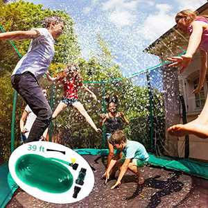 FAMEBIRD Trampoline Sprinkler for Kids Outdoor Water Play Trampoline Sprinkler Waterpark Fun Summer Outdoor Water Games 39 ft