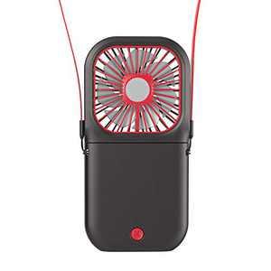 USB Folding Fans, 3 Speeds Portable Mini Fan, Hands-Free Neck Hanging Personal Rechargeable Fan with 3000mAh Power Bank (Black)