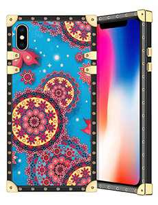 Coolden for iPhone Xs iPhone X Case Square Glitter Edges Stylish Luxury Totem Pattern for Women Girls Protective Corner Soft Slim TPU Shell Cover for iPhone Xs X 10 5.8 Inch Blue Mandala