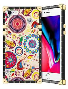 Coolden for iPhone 8 iPhone SE 2020 Case Square Glitter Edges Stylish Luxury Totem Pattern for Women Girls Protective Corner Soft Slim TPU Shell Cover for iPhone 8 7 Se 2nd 4.7 Inch Beige Flower