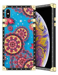 Coolden for iPhone Xs Max Case Slim Protective Stylish Luxury Cover for Women Girls Rugged Corner Soft TPU Shell Cover for iPhone Xs Max 6.5 inch Mandala Blue