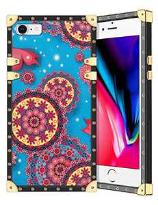 Coolden for iPhone SE 2020 Case Slim Protective Stylish Luxury Cover for Women Girls Rugged Corner Soft TPU Shell Cover for iPhone 8 7 Se 2nd 4.7 inch Mandala Blue