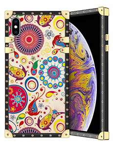 Coolden for iPhone Xs MAX Case Square Glitter Edges Stylish Luxury Totem Pattern for Women Girls Protective Corner Soft Slim TPU Shell Cover for iPhone Xs MAX 6.5 Inch Beige Flower