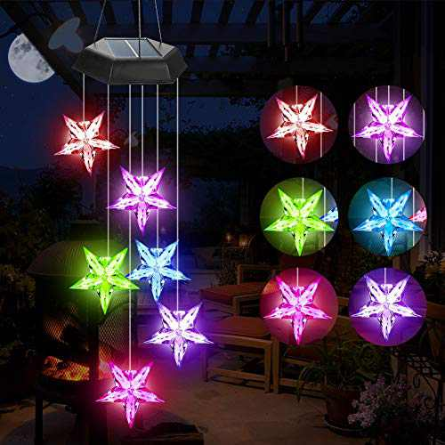 Jhua Wind Chime, Solar Wind Chimes Color Changing Solar LED Waterproof Blue Star Windchime with S Hook Windchimes Unique Outdoor Indoor Decorations Romantic Wind Bell Light for Patio Yard Garden Home