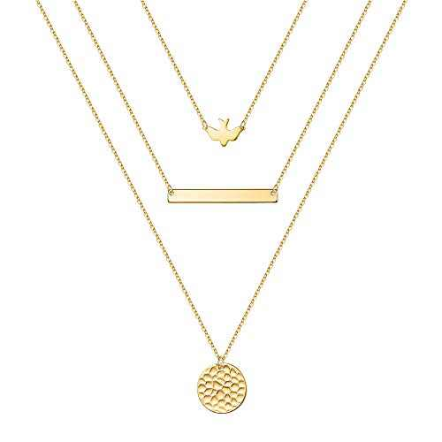 IEFSHINY Dainty Layered Necklaces for Women,Multilayer Swallow Bar Hammered Disc Layering Necklaces 14K Gold Plated Gold Layered Necklaces