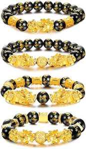 MILACOLATO 4 Pcs Feng Shui Pixiu Good Luck Bracelets for Men Women Mantra Amulet Bead Bracelets Pi Yao Bead Bracelelts with Gold Plated