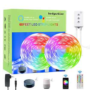 Smart LED Strip Lights 65.6Ft,RGB Color Changing Strip Lights by Remote Control, SYNC to Music Strip Lights Work with Alexa/Google Home,LED Strip Lights WiFi 65.6Feet