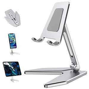 Adjustable Cell Phone Stand, Arae Aluminum Desk Cellphone Stand Holder Cradle Dock with Anti-Slip Base and Charging Port Compatible with iPhone Samsung All Smartphone (Silver)