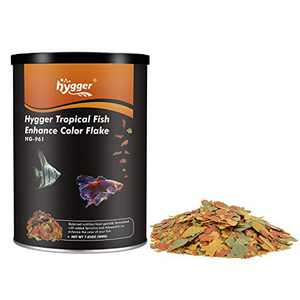 hygger 7-oz Jar Color Enhancing Tropical Fish Flake Food for Betta Guppy Barb Goldfish High Protein Vitamin-Enriched Support for Immune System Clear Water