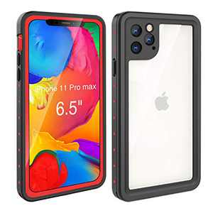 Waterproof Case iPhone 11 Pro Max (6.5 inch), Full Sealed Rugged with Clear Sound Quality Waterproof/Shockproof/Snowproof/Dustproof (Red/Black)