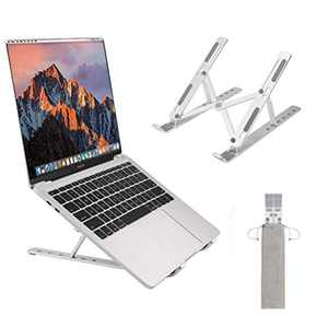 Foldable Laptop Stand, Portable 6-Angles Adjustable Aluminum Riser Laptop Holder for Desk, Ventilated Notebook Holder for MacBook Air Pro, More 10-15.6 inches PC Computer, Tablet, iPad (Silver)