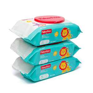 Fisher Price Baby Wipes Unscented, Hypoallergenic, Water Baby Diaper Wipes for Newborn and Sensitive Skin - Flip Top - 80 Count (Pack of 3) 240 Wipes