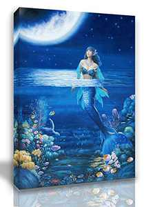 Mermaid Bathroom Decor Bedroom Decor Wall Decor For Bedroom Teen Girl Wall Decorations For Living Room Ocean Theme Classroom Decorations Sea Turtle Moon Fish Jellyfish Size 12x16