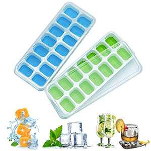Ice Cube Tray,Silicone Ice Cube Tray with Lid,Flexible 14 Ice Cube Trays Easy Release,BPA Free and Stackable for Freezer,Blue and Green(2 Pack)