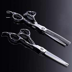 Barber Scissors, YIKA Hair Scissors - Thinning Teeth Hair Shears Set, TRULY SHARP Japanese Stainless Steel 6.7 inch
