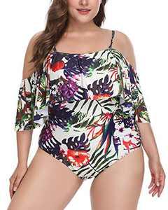 Daci Women Plus Size One Piece Swimsuits Off Shoulder Ruffle Tummy Control Bathing Suits Swimwear Multi Floral XXL