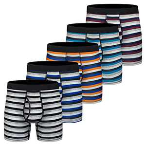 Mens Boxer Briefs, Cotton Underwear Comfy Breathable Tagless No Ride-up 6'' Regular Leg Sport Stripe Boxer Briefs with Fly 5 Pack