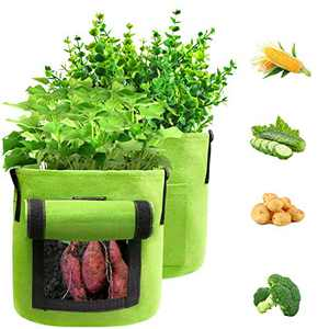 BAGOKIE Plant Grow Bags, Potato Grow Bags 15 Gallon, Thickened Non-Woven Fabric Planter Bags with Flap & Handles 2 Pack Vegetable Planting Bags Garden Containers Smart Plant Bags Flower Bags Outdoor