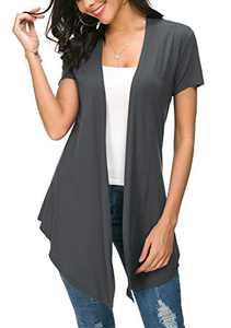 Womens Solid Open Front Short Sleeve Cardigan (M, Deep Grey)