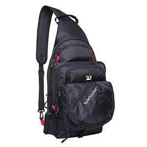 Kylebooker Fishing Pack Fishing Crossbody Gear Storage Shoulder Bag (Black with Red)