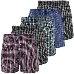 longfor Men's Boxer Underwear Comfy Breathable Stretch Woven Boxer Briefs 5Pack