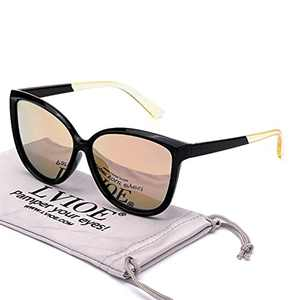 LVIOE Cat Eye Sunglasses for Women, Polarized Mirrored Lens with UV Protection, Trendy Cateye Lightweight Frame Sun Glasses (Black Frame, Polarized Mirrored Gold Lens)
