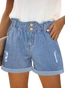 onlypuff Ladies Denim Shorts Ripped Light Blue Short Stretchy Cut Up Shorts for Women XL