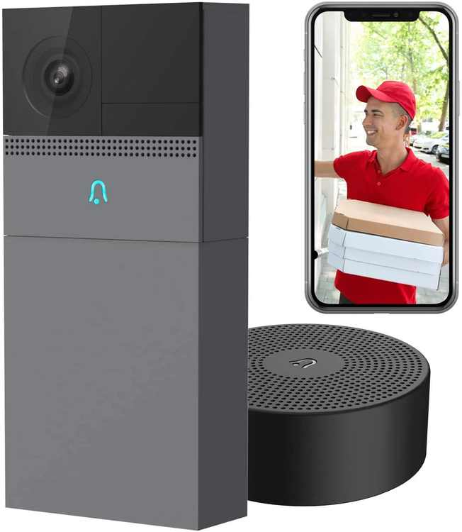 Wireless Doorbell Camera Laxihub B1, WiFi Security Outdoor Bell with Motion Detection, Rechargeable Battery Powered, 1080p HD Video with Indoor Chime, 2-Way Audio, Human Detection